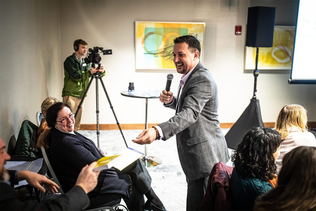 Michael talking to a team